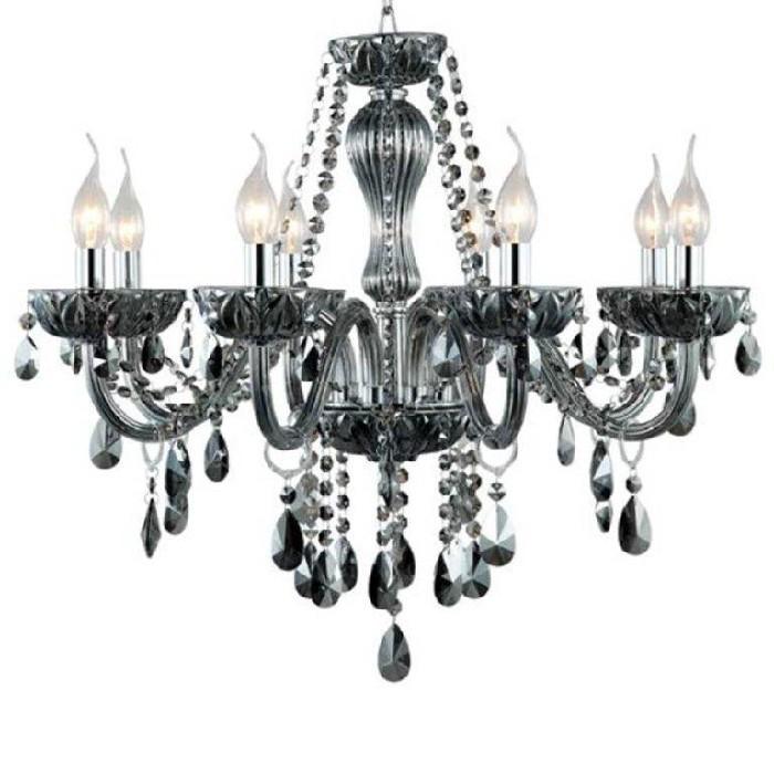 Lustre Vidro e Metal Fume 8 Lampadas JF028S - Bella Iluminacao