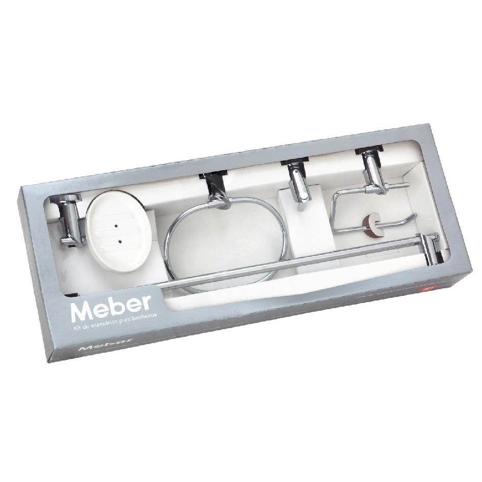 Kit De Acessorios para Banheiro de Parede Metal 5 Pecas Prata - Minimal Meber