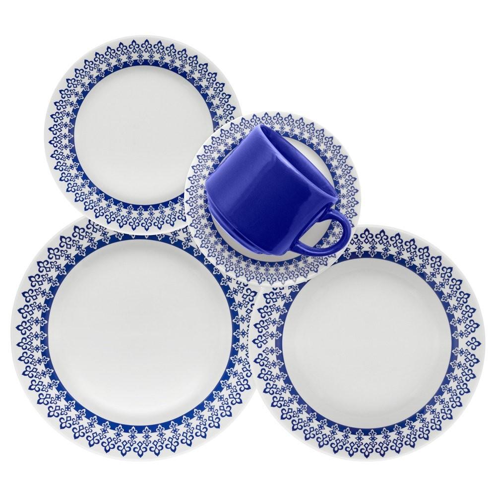 Aparelho de Jantar de Ceramica 20 Pecas Azul Donna 5108 - Biona