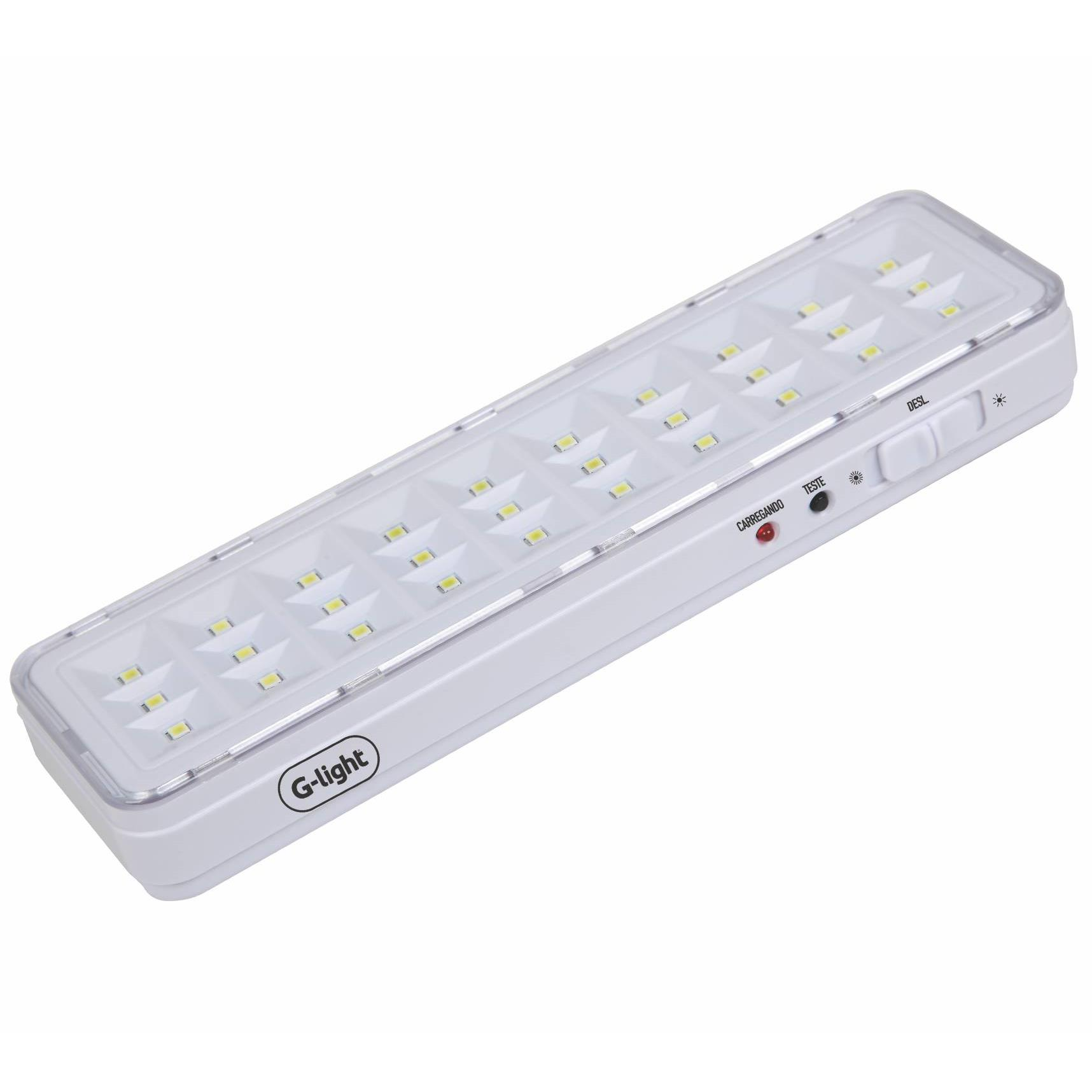 Luminaria De Emergencia Led Integrado 30 Lampadas 12W Autovolt - Branco - Glight