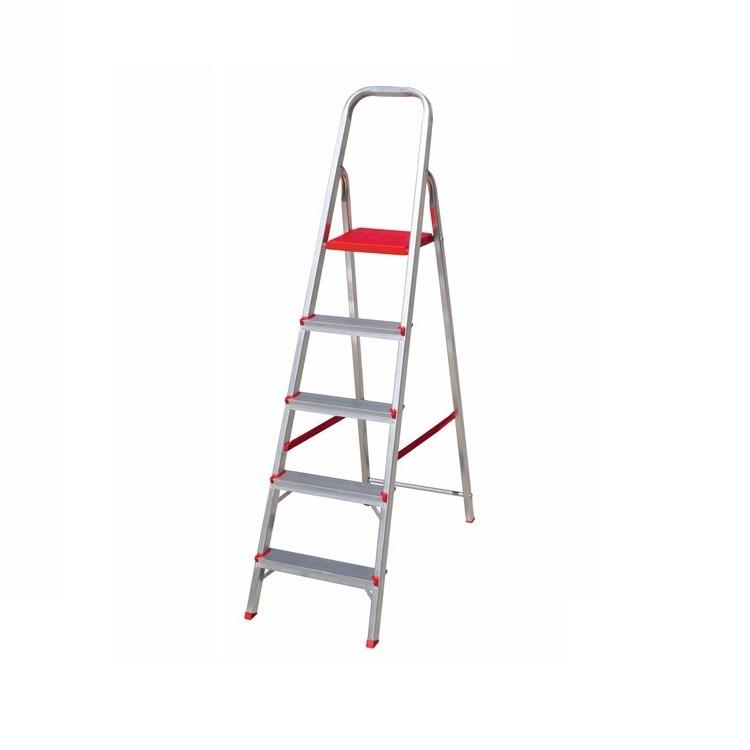 Escada Tesoura em Aluminio 5 Degraus Prata 120kg - Botafogo