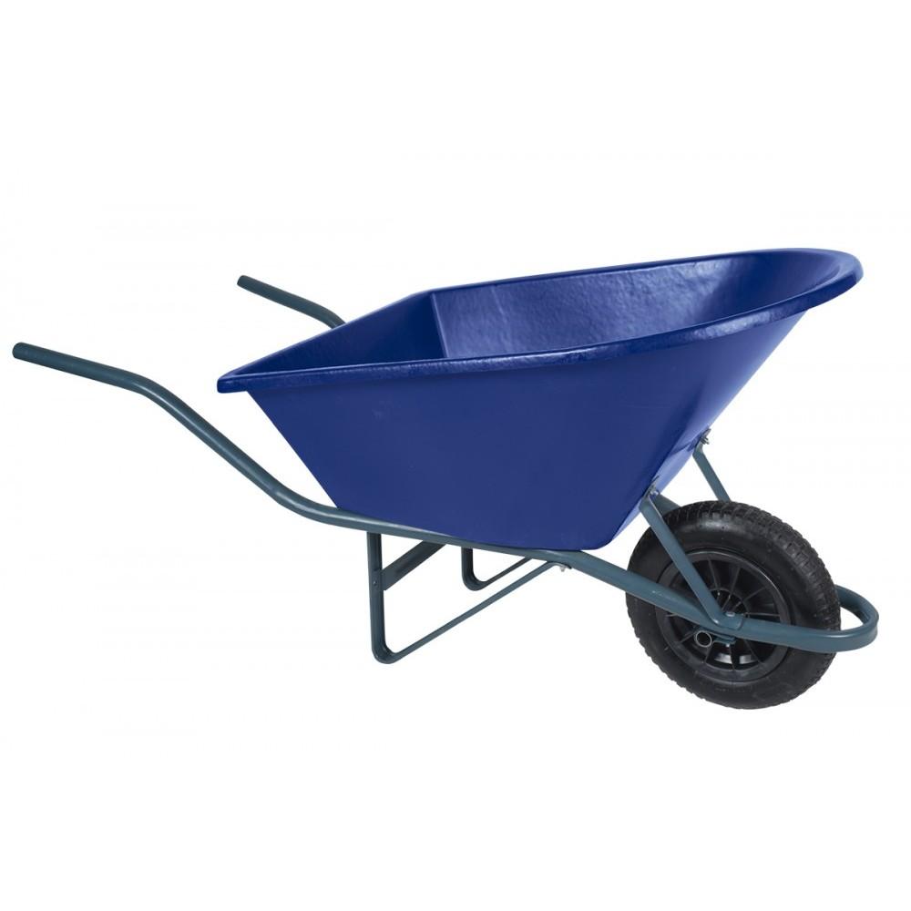 Carro de Mao Aro Plastico Pneu Camara 90L Azul - Metasul