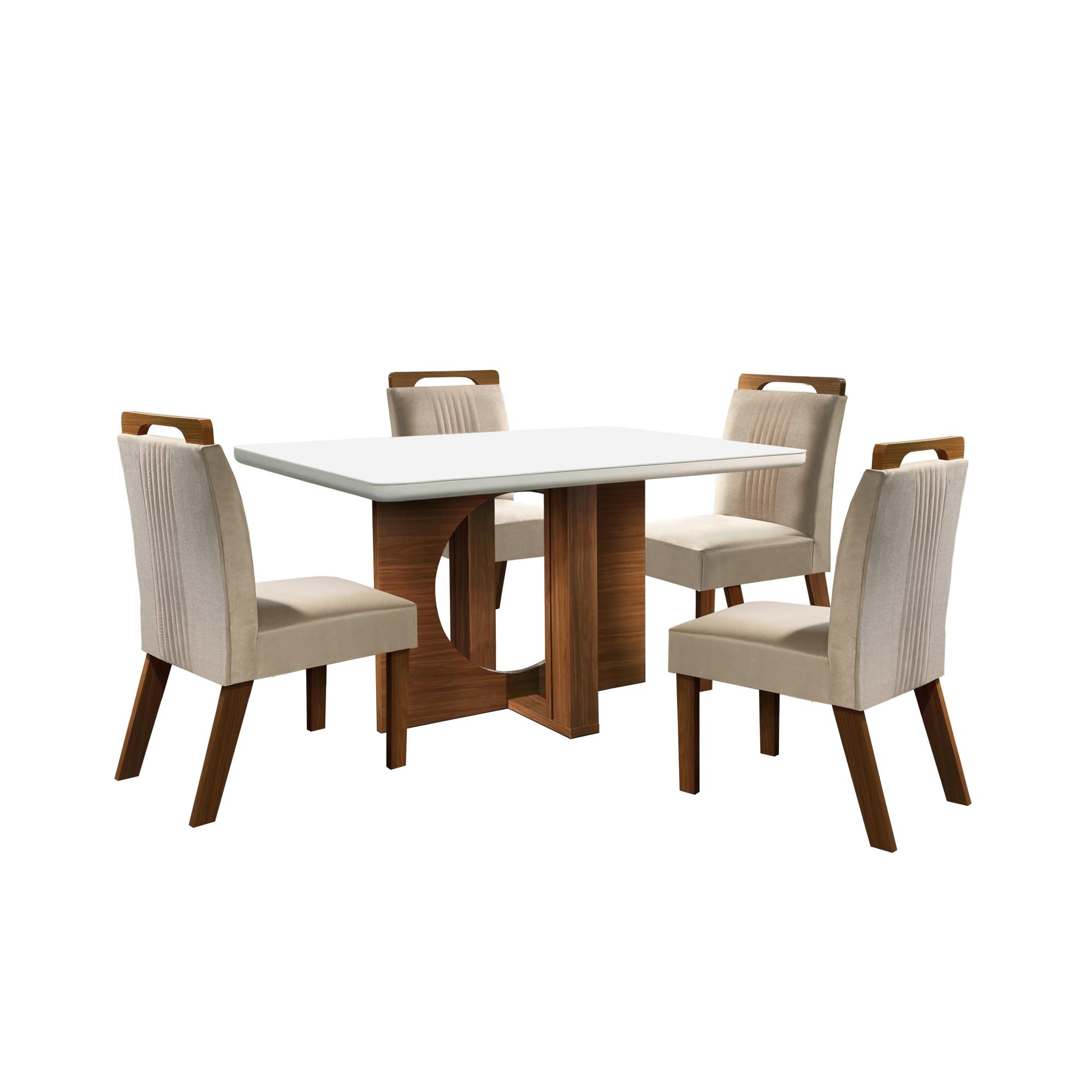 Conjunto de Mesa 135 x 90 cm Firenze Com 4 Cadeiras Branco - LJ Moveis