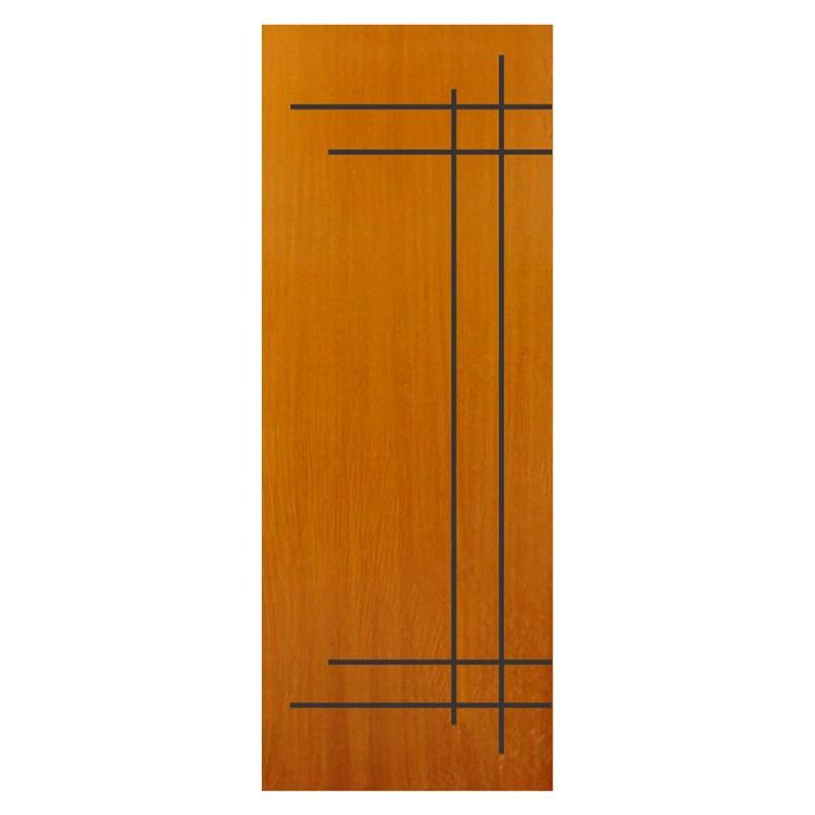 Porta de Madeira de Abrir Frisada Colmeia 90x210cm Angelim Marrom - 1101 - Belissima