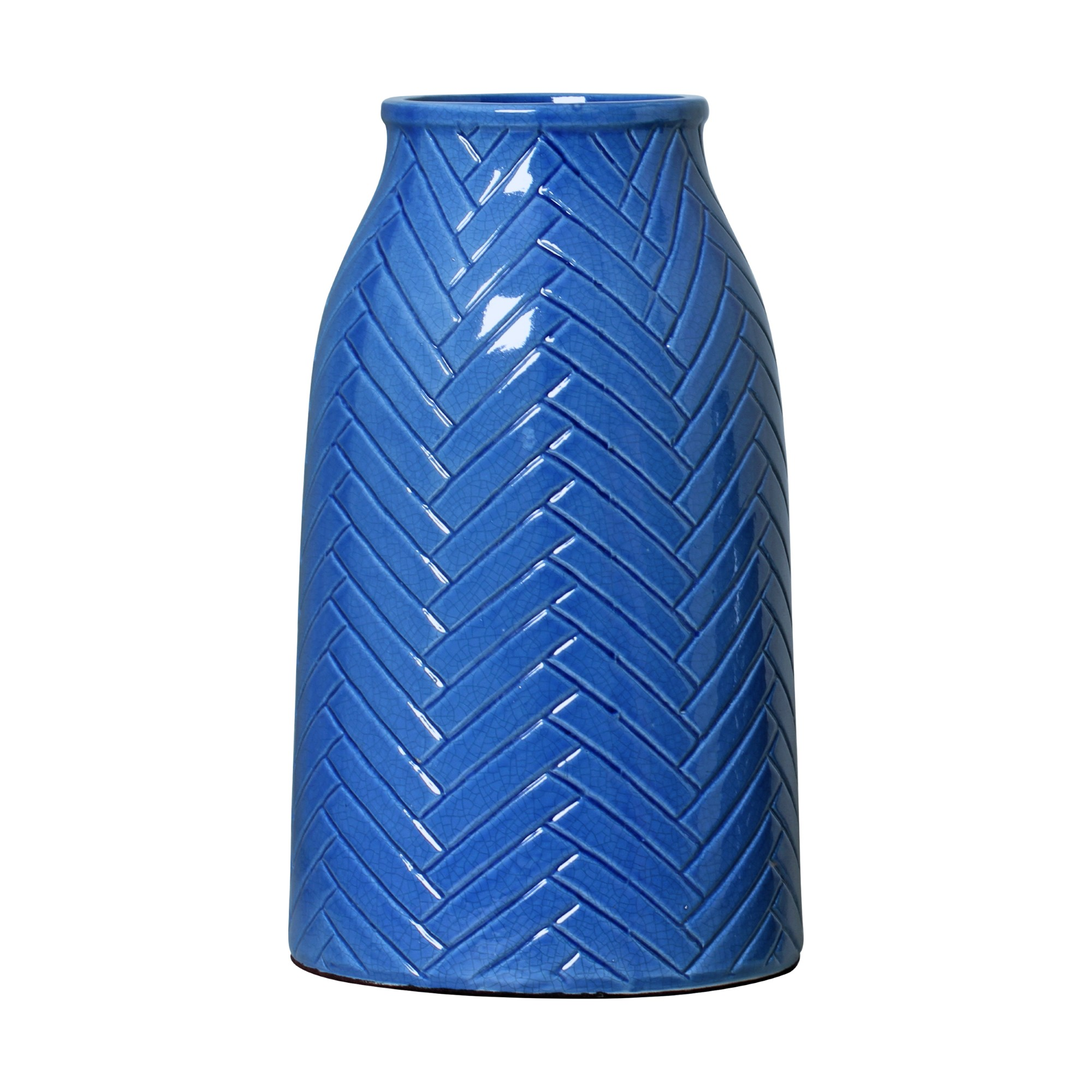 Vaso Decorativo Ceramica 40cm Redondo Azul Claro 5293 - Ana Maria