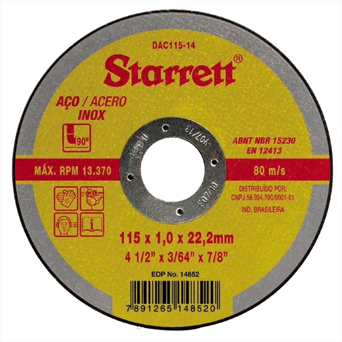 Disco de Corte Aco Inox 115x10x222 mm 4 12 - Starrett