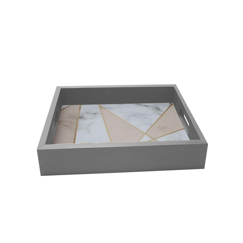 Bandeja Geometrica Marmore Quadrada de MDF 32x32cm Cinza - Kapos