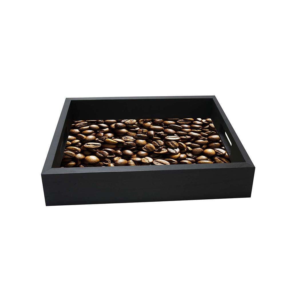 Bandeja Cafe Quadrada de MDF 32x32cm Preta - Kapos