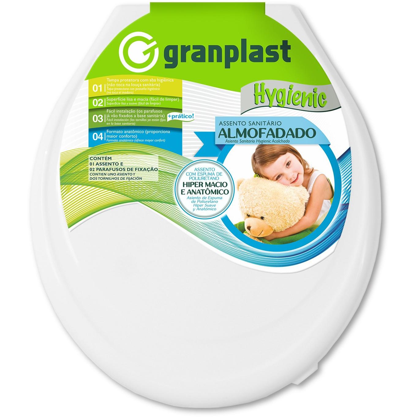 Assento Sanitario Almofadado Hygienic Branco - Granplast
