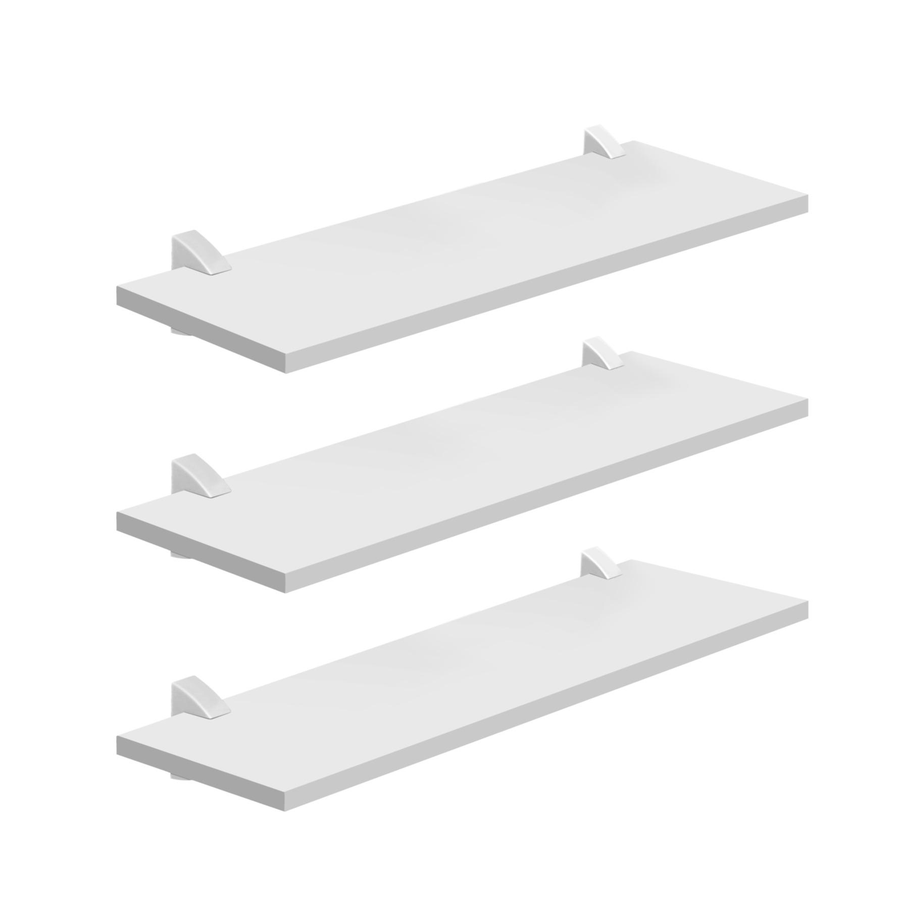Kit de Prateleiras MDP 3 Pecas com Suporte 60x20cm Branco Concept - Prat-k