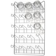 Escorredor de Copos de Aço Cromado 20 Copos Prata - Arthi