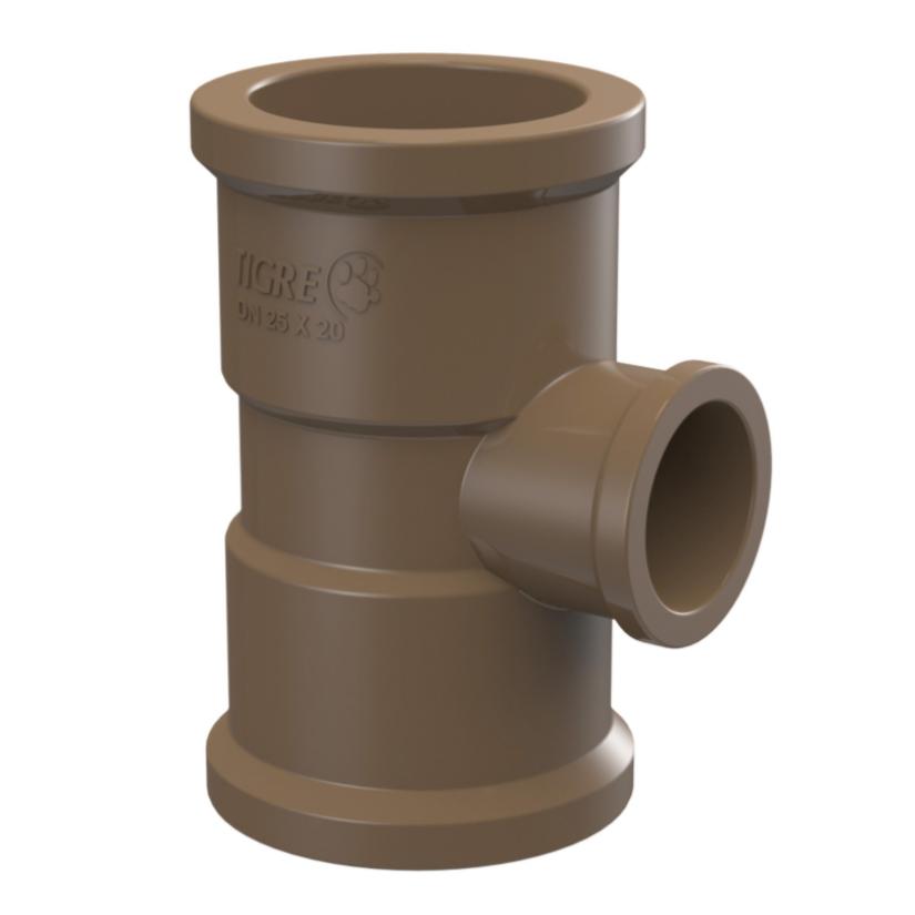 Te de Reducao 90 Soldavel PVC Marrom 75 mm x 50 mm - Tigre